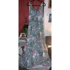 H&M Conscious Collection Green Floral Maxi Dress